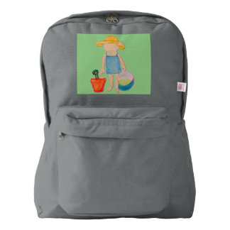 Baby Girl Toddler on Summer Beach Birthday Mint Backpack