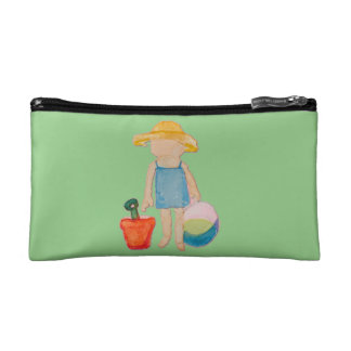 Baby Girl Toddler on Summer Beach Birthday Mint Cosmetics Bags