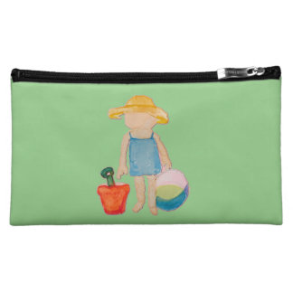 Baby Girl Toddler on Summer Beach Birthday Mint Makeup Bags