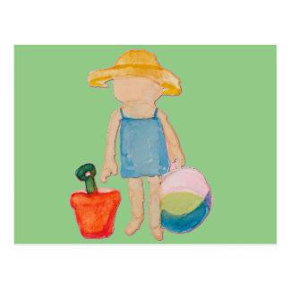 Baby Girl Toddler on Summer Beach Birthday Mint Postcard