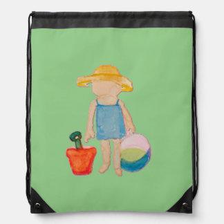 Baby Girl Toddler on Summer Beach Birthday Mint Rucksacks