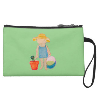 Baby Girl Toddler on Summer Beach Birthday Mint Wristlet Clutch