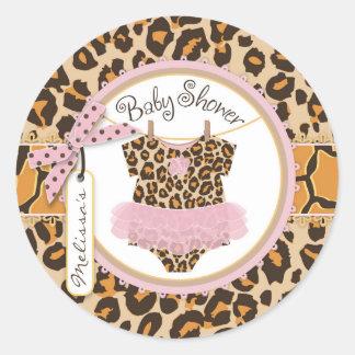 Baby Girl Tutu Cheetah Print Baby Shower Label