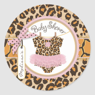 Baby Girl Tutu Cheetah Print Baby Shower Label Round Sticker