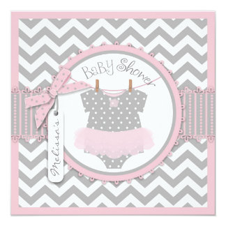 Baby Girl Tutu Chevron Print Baby Shower 13 Cm X 13 Cm Square Invitation Card