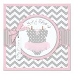 Baby Girl Tutu Chevron Print Baby Shower Personalized Invites
