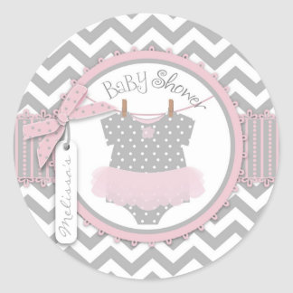 Baby Girl Tutu Chevron Print Baby Shower Round Sticker