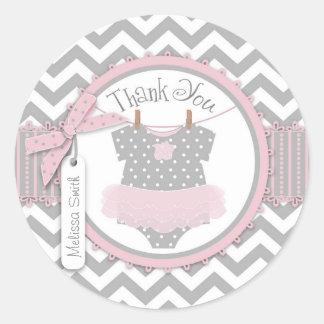Baby Girl Tutu Chevron Print Thank You Label Round Sticker