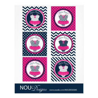 Baby Girl Tutu Mix Print Large Cupcake Toppers Personalized Flyer