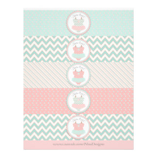 Baby Girl Tutu Mix Print Water Bottle Labels Flyer