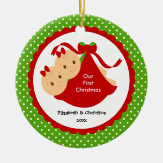 Baby Girl Twins Baby's First Christmas Ornament