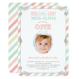 Baby Girl Vintage 1st Birthday Party Photo Invite