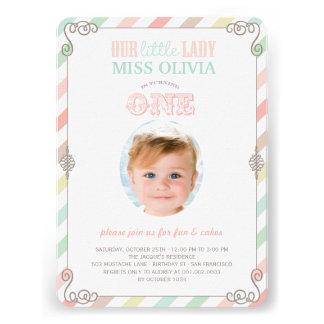 Baby Girl Vintage 1st Birthday Party Photo Invite Custom Invitations