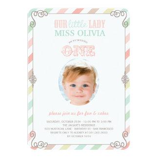 "Baby Girl Vintage 1st Birthday Party Photo Invite 4.5"" X 6.25"" Invitation Card"