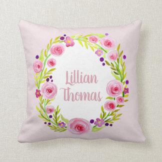 Baby Girl Watercolor Flower Wreath & Name Nursery Cushion