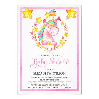 Baby Girl Watercolor Unicorn Baby Shower 13 Cm X 18 Cm Invitation Card