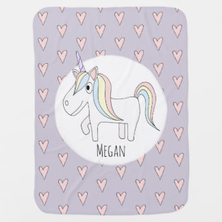 Baby Girl Whimsical Doodle Unicorn with Name Baby Blanket