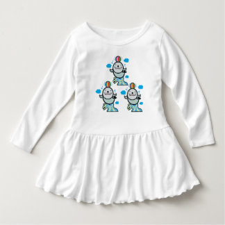 Baby girl white cotton dress with cute seal