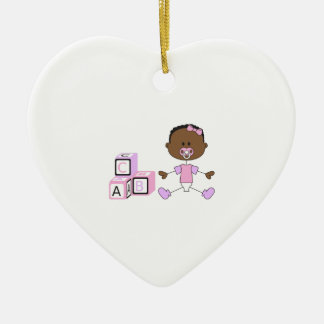 BABY GIRL WITH BUILDING BLOCKS CERAMIC HEART DECORATION