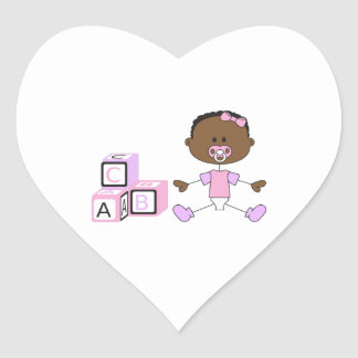 BABY GIRL WITH BUILDING BLOCKS HEART STICKER