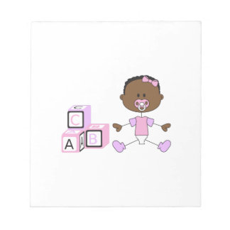 BABY GIRL WITH BUILDING BLOCKS SCRATCH PAD