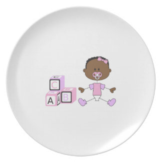 BABY GIRL WITH BUILDING BLOCKS PARTY PLATES