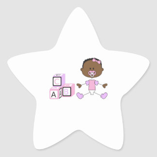 BABY GIRL WITH BUILDING BLOCKS STAR STICKER