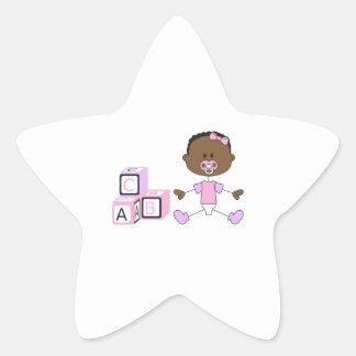 BABY GIRL WITH BUILDING BLOCKS STAR STICKER