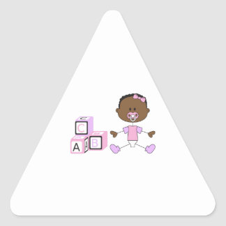 BABY GIRL WITH BUILDING BLOCKS TRIANGLE STICKER