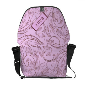 Baby Girl Words in Pink Paisley Courier Bags