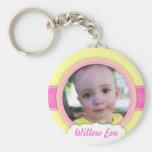 Baby Girl Yellow Custom Photo Keepsake Keychain