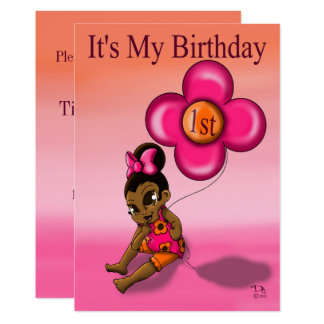 """Baby Girl's 1st Birthday Invitation"" 5' x 7"" Card"