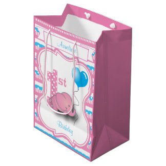 Baby Girl's 1st Birthday Party Medium Gift Bag