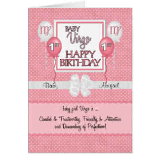 Baby Girl's 1st Birthday Virgo Zodiac Card