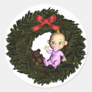Baby Girl's 1st Christmas Round Sticker