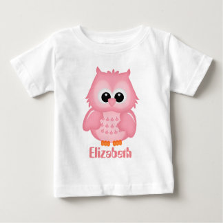 Baby girls add name cute owl t-shirt