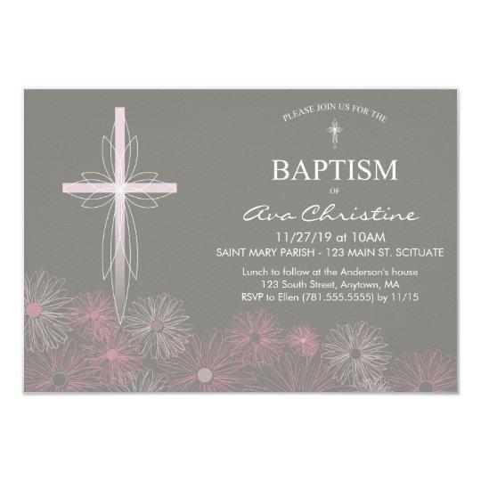 Baby Girls Baptism Invitation with Cross Daisies Zazzlecouk