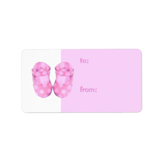 Baby Girls Booties Gift Tag Address Label