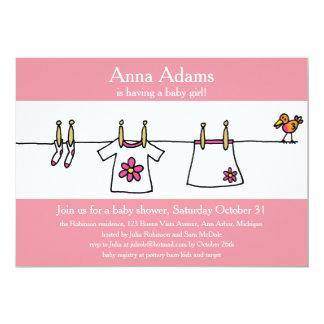 Baby Girls' Clothes & Bird 13 Cm X 18 Cm Invitation Card