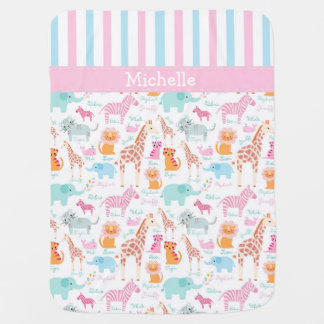 Baby Girl's Colorful Zoo Animals Baby Blanket