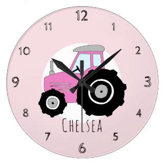 Baby Girl's Doodle Pink Farm Tractor Car Nursery Large Clock