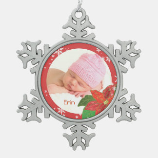 Baby Girl's First Christmas Poinsettia Ornaments