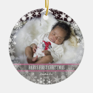 Baby girls First Christmas Round Ceramic Decoration