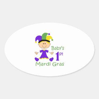 BABY GIRLS FIRST MARDI GRAS OVAL STICKER