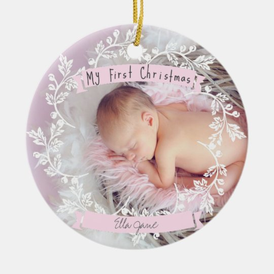 Baby Girl's First Photo Christmas Ornament