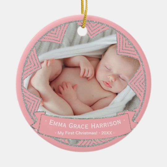 Baby Girls Pink Blush Personalised Christmas Photo Christmas Ornament