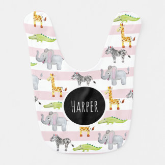 Baby Girl's Pink Striped Safari Animal with Name Bib