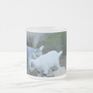 Baby Goat Family Frosted Glass Mug