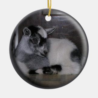 BABY GOAT GREY/WHITE CHRISTMAS ORNAMENT