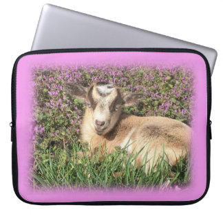 Baby Goat Kid Barnyard Farm Animal Teen Girl Pink Laptop Sleeve